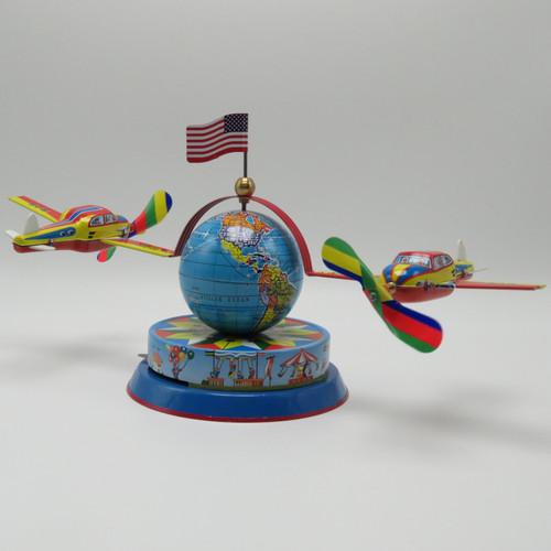 Nurnberger Earth Globe Tin Toy Plane Carousel RM575 US Flag_1