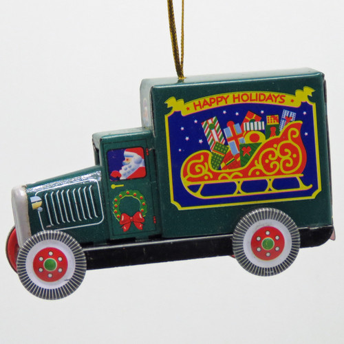 Collectible Tin Toy Green Santa Truck Ornament MM281G left