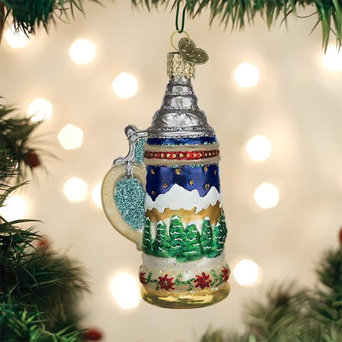 German Prost Stein Beer Mug Ornament Old World Christmas 32369 display
