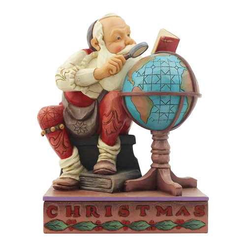 Jim Shore Christmas Santa with Globe Saturday Evening Post Figure 6004484 front