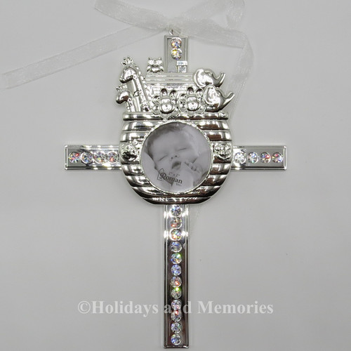 Caroline Collection Baby Noahs Arch Rhinestone Cross Engravable 19633 main