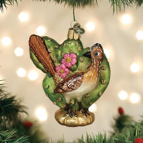 Old World Christmas Roadrunner Desert Southwest Blow Glass Ornament 16126 display