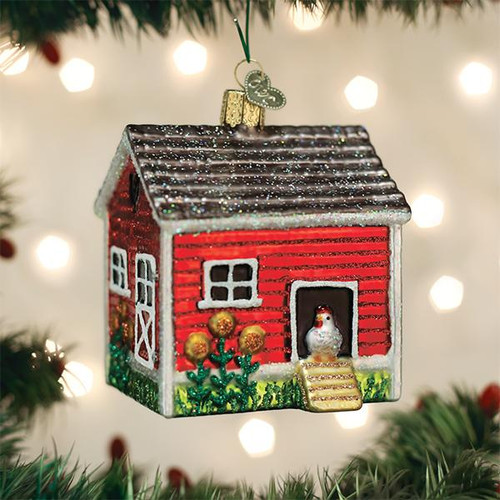 Old World Christmas Chicken Coop House Farm Building Blown Glass Ornament 16128 Display