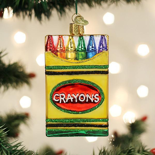 Old World Christmas Crayon Box Ornament Blown Glass Ornament 32458 display
