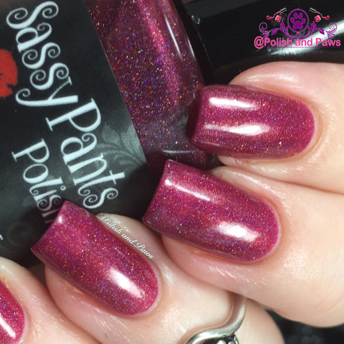 """Kiss Me"" Valentines '16 ""First Crush"" Collection  Swatch by Polish and Paws/ Three coats shown w/top coat."