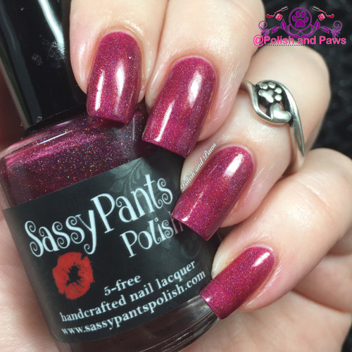 """""""Kiss Me"""" Valentines '16 """"First Crush"""" Collection  Swatch by Polish and Paws/ Three coats shown w/top coat."""