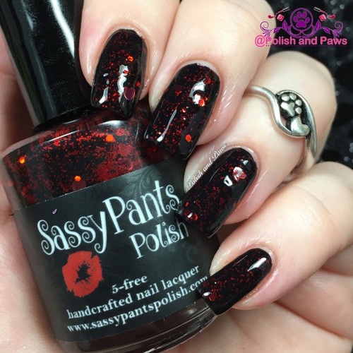 """""""Forbidden Love"""" Valentines '16 """"First Crush"""" Collection  Swatch by Polish and Paws/ Two coats with glossy top coat shown over black base."""
