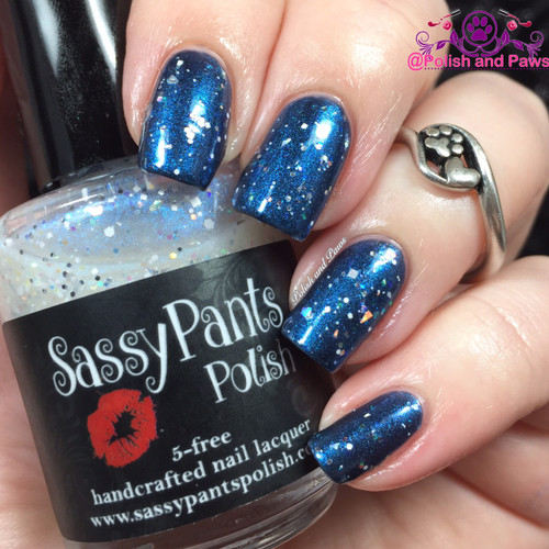 "Snow Queen from the ""Snow Queen"" Winter Trio  Swatched by Tiffany from Polish and Paws. Swatch shows 1 coat over Ballbuster from Sassy Pants Polish's Debut Fall '15 Collection."