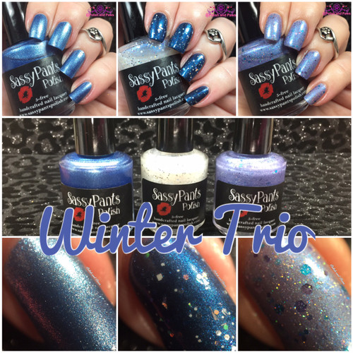 Winter Trio Collection, Frozen, Snow Queen (over Ballbuster from Debut Collection) and Ice Princess.  Swatches by Tiffany from Polish and Paws