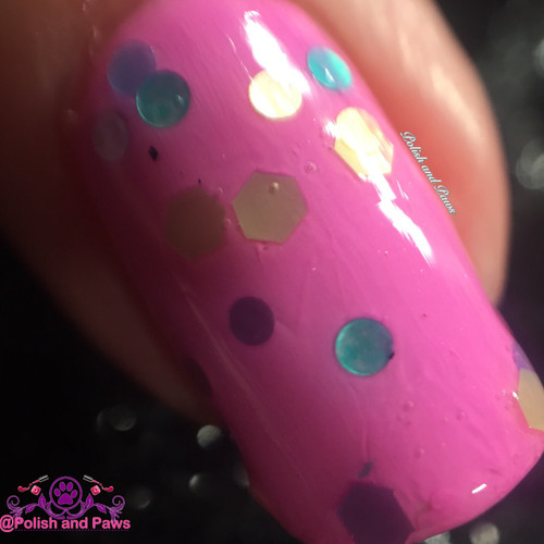 """""""Sprinkles"""" shown over """"Strawberry Sorbet"""" both from the Spring '16 Ice Cream Social Collection.  Shown here in two coats and sealed by top coat by Polish and Paws."""