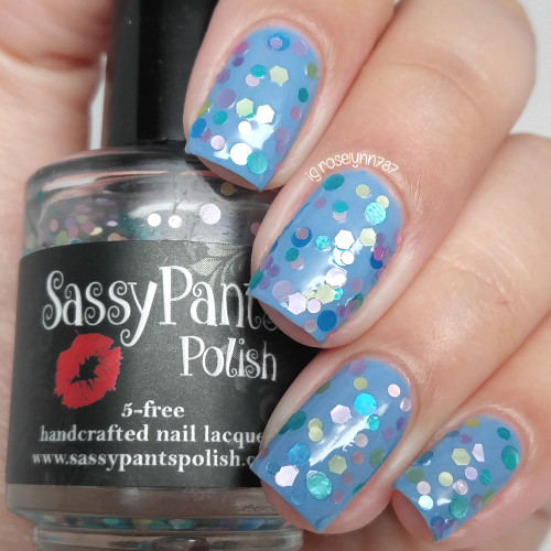 """Sprinkles"" shown over ""Blue Moon"" both from the Spring '16 Ice Cream Social Collection.  Shown here in two coats and sealed by top coat by Manicured and Marvelous."