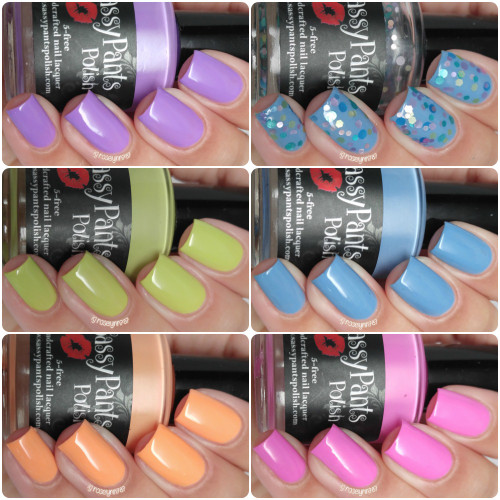 Entire Spring '16 Ice Cream Social Collection.  Shown here in two coats and sealed by top coat by Manicured and Marvelous.