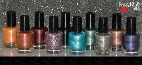 "Entire Debut Fall 15 ""Find Your Sassy"" Collection. Bottles shown are full 15ml size. Mini size bottles are 7.5ml."