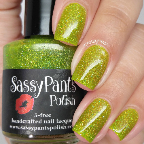 Limey Bastard shown here with three coats and glossy top coat.  Swatched by Manicured & Marvelous.