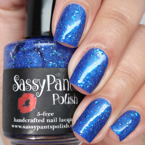 Blue(berry) Balls shown here with two coats and glossy top coat.  Swatched by Manicured & Marvelous.