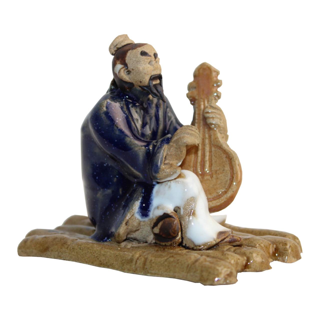Chinese Figurine - Man sitting Playing Banjo (F-041)