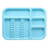 Plastic divided Instrument tray blue, large 24x34cm