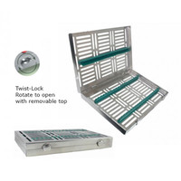 Sterilization Cassette Twist-lock Maxi (280x180x35mm) with removable top (for 20 instruments) Green