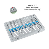 Sterilization Cassette Twist-lock Maxi (280x180x35mm) with removable top (for 20 instruments) Blue