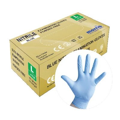 Blue Nitrile Gloves, Powder Free - Case of 10 boxes x 100 gloves