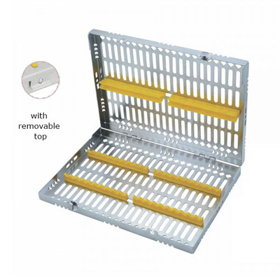 Sterilization Cassette Maxi (280x180x35mm) with removable top (for 20 instruments) yellow