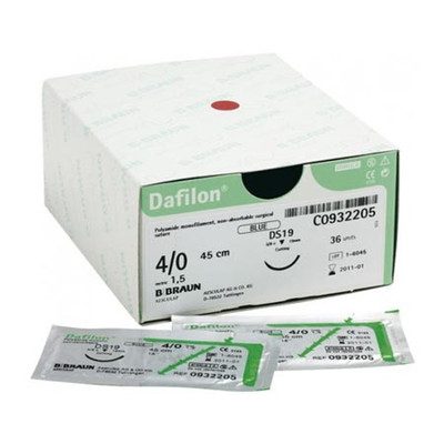 Dafilon Non-Absorbable suture (C0932205) Blue 4/0 (1.5) 45 cm Ds19, 36/pk