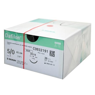 Dafilon Non-Absorbable suture (C0932191) Blue 5/0 (1) 45 cm Ds19, 36/pk