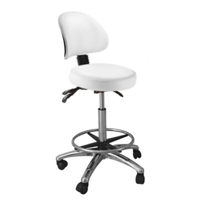 Round stool with backrest, white