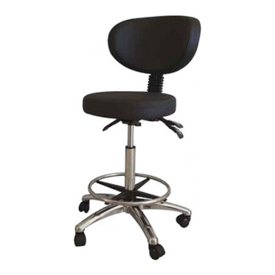 Round stool with backrest, black