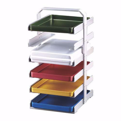Aluminium Midi tray storage rack (992546) hold 6 trays size 14x18cm