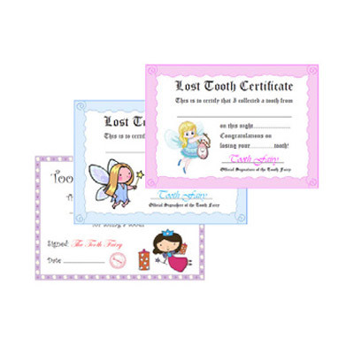 Lost Tooth Certificates, 100pk assorted