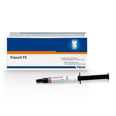 Fissurit FX - Highly filled light-curing fissure sealant with fluoride, white (Syringe 2 × 2.5 g, accessories)