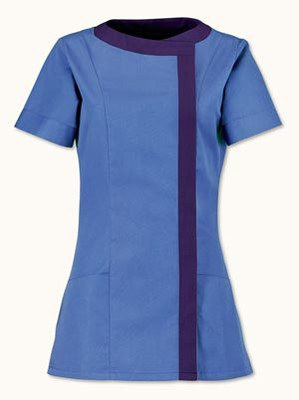Women's asymmetric tunic (NF191) Metro blue (with navy trim) Chest size 116cm (45.5 inches)