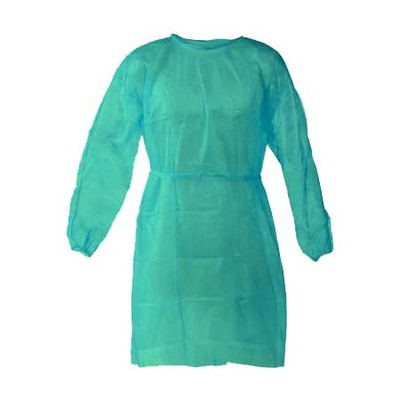 Disposable medical gown with elastic cuffs, non-woven, non-sterile - Pack of 10pcs green (XL)