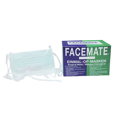 FACEMATE® Surgical Face mask type IIR 3 ply - Tie on, green, 50pcs