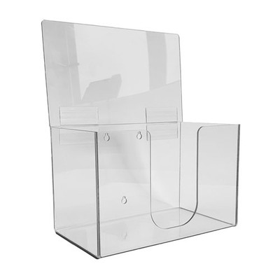Face Mask Dispenser with hinged lid, Wall Mountable, transpraent