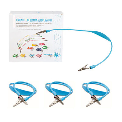 Thermoplastic Rubber Bib Holder with Metal Clips - 4pcs Blue
