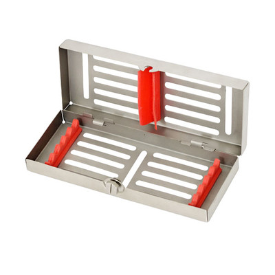 Sterilization Cassette with removable top Mini 18.7x6.9x2.3cm (for 5 instruments) red