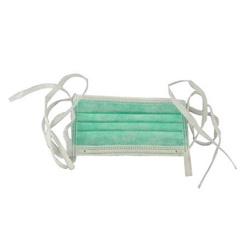 Surgical Face mask type IIR 3 ply - Tie on, green, 50pcs