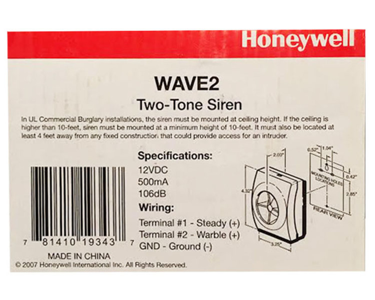 Honeywell Wave2 Siren
