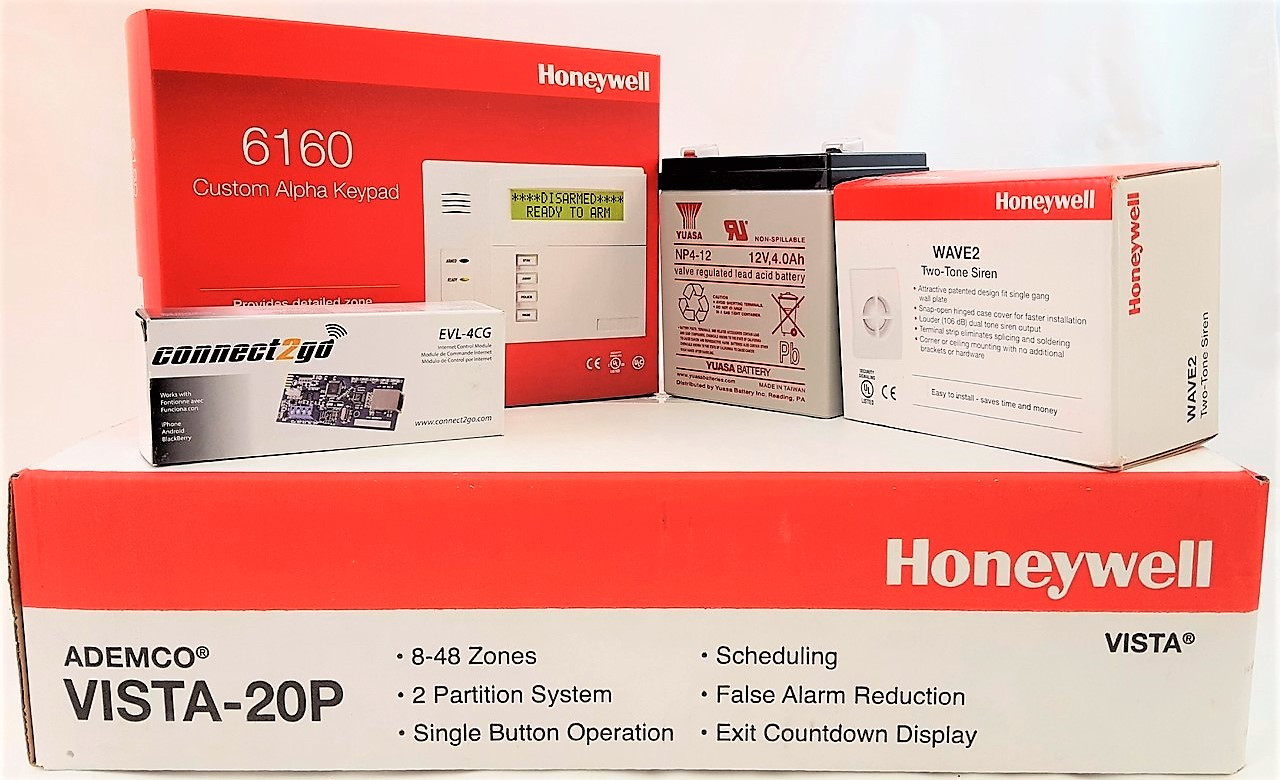 Self Monitoring Kit  NO MONTHLY FEES- Vista 20p, 6160, EVL 4, Battery, Siren