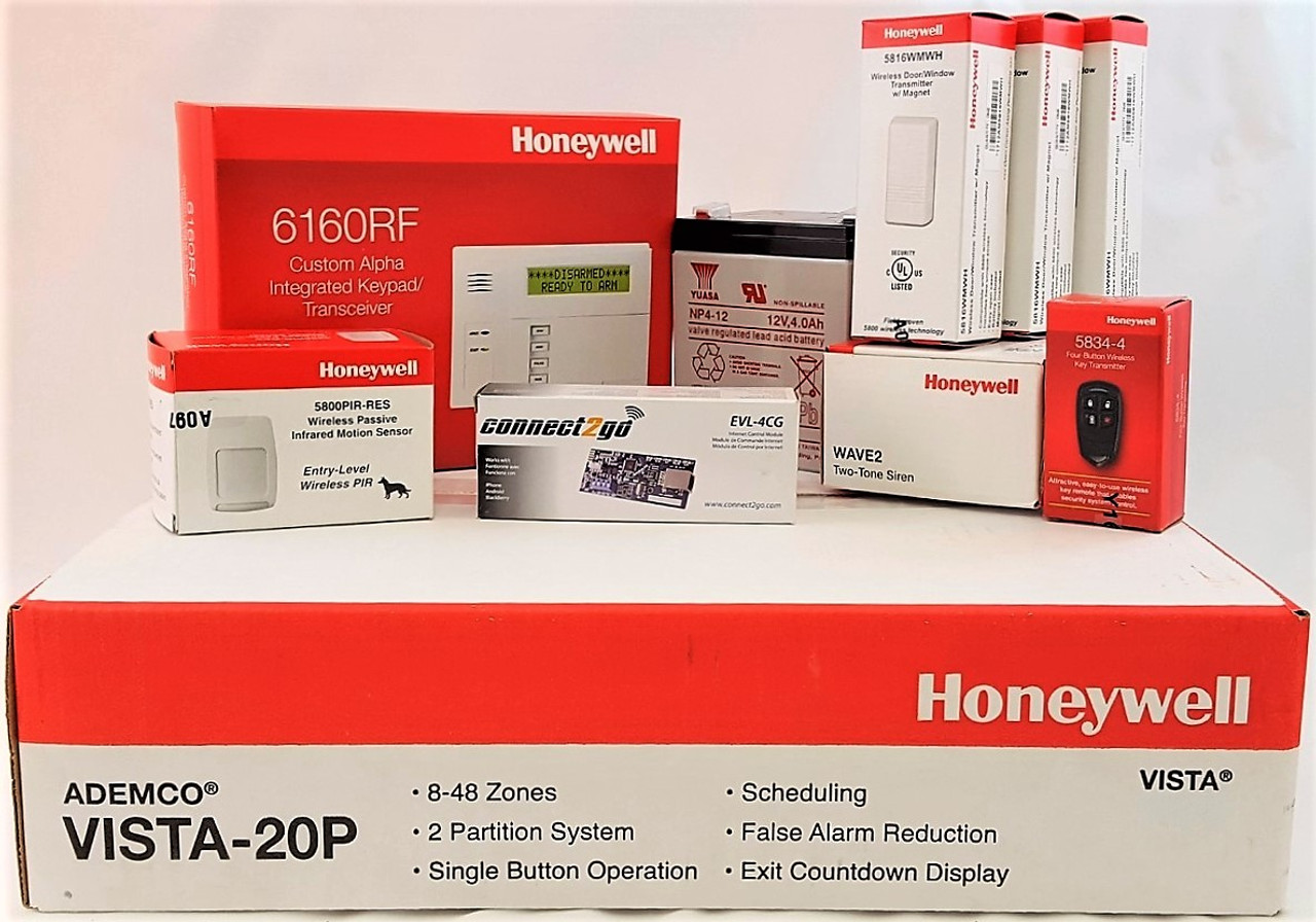 Self Monitoring Kit NO MONTHLY FEES- Vista 20p, 6160RF, EVL 4, Battery, Siren, (3) 5816WMWH, (1) 5800PIR-RES, (1) 5834-4 Keyfob