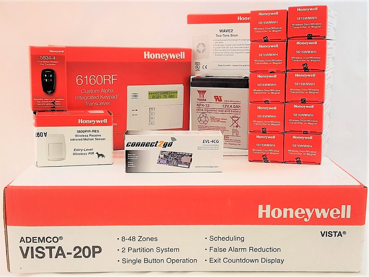 Self Monitoring Kit NO MONTHLY FEES- Vista 20p, 6160RF, EVL4, Battery, Siren, (10) 5816WMWH, (1) 5800PIR-RES, (1) 5834-4 Keyfob