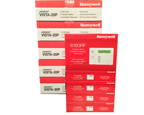 5 Honeywell 20P Panels & 5 Honeywell 6160RF Keypads