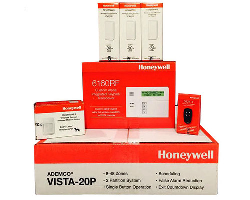 Honeywell Vista 20P, 6160RF, (3) Kit 5816WMWH, 5800PIR-RES, 5834-4