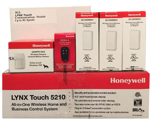 Honeywell Lynx Touch 5210, (3) 5816WMWH, 5800PIR-RES, 5834-4, LTE Communicator