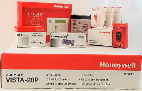 Self Monitoring Kit NO MONTHLY FEES- Vista 20p, 6160RF, EVL 4, Battery, Siren, (3) 5800MINI, (1) 5800PIR-RES, (1) 5834-4 Keyfob