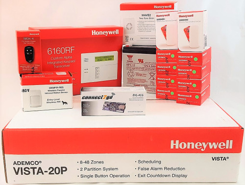 Self Monitoring Kit NO MONTHLY FEES- Vista 20p, 6160RF, EVL4, Battery, Siren, (10) 5800MINI, (1) 5800PIR-RES, (1) 5834-4 Keyfob
