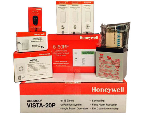 Honeywell Vista 20P, 6160RF, 3-5816WMWH, 5800PIR-RES, 5834-4 Battery, Siren, Jack and Cord Package