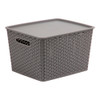 Howards Rectangular Plastic 18L Basket with Lid - Grey Rattan